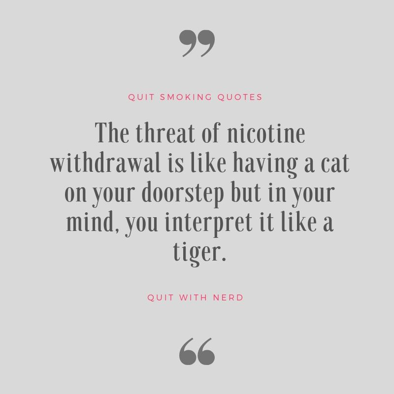 The threat of nicotine withdrawal is like having a cat on your doorstep but in your mind, you interpret it like a tiger - Quotes