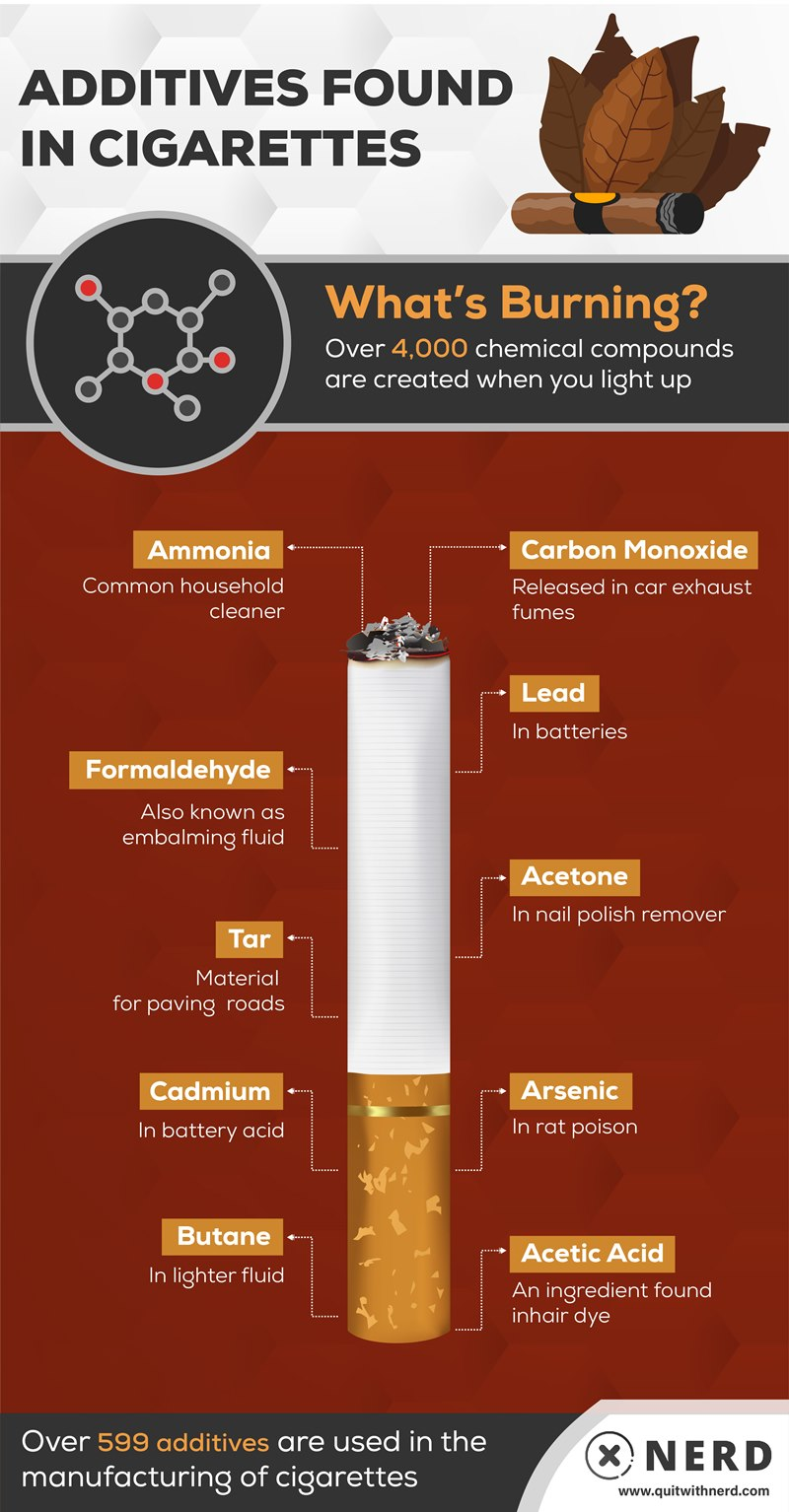 Poisonous Additives Found in Cigarettes Infographic by Quit With Nerd